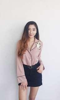 Korean pyjama pink embroided top