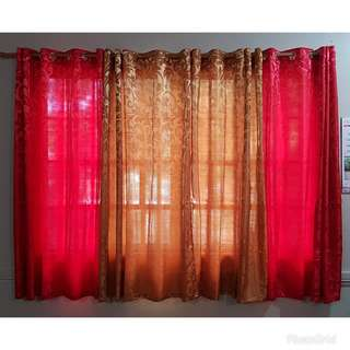Red & gold curtains and rod
