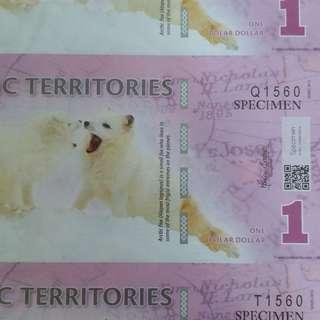 2011年 北極  1元 3連體 膠鈔 全新直版