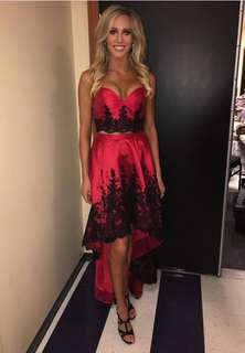 Sherri Hill Pageant Crop and Skirt // Red & Black