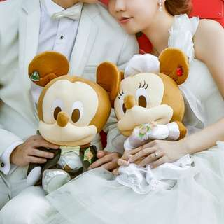 Large Groom Bride Mickey Minnie Wedding Plushies