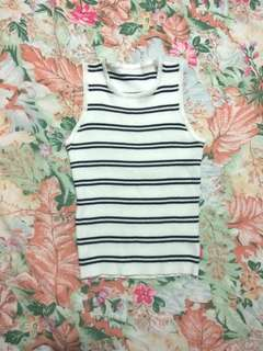 White stripes knitted ribbed top