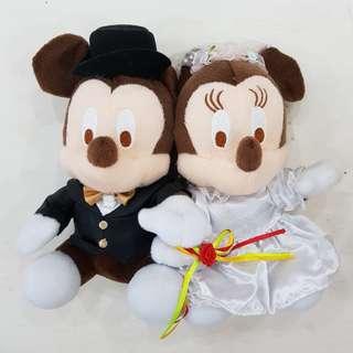 Medium Groom Bride Mickey Minnie Wedding Plushies