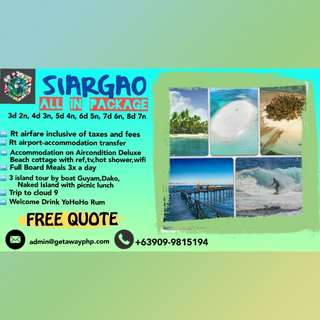 FREE QUOTE ALL IN SIARGAO PACKAGES