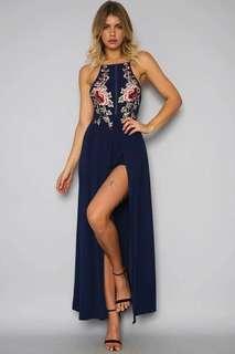 Embroidery Slit Maxi Dress