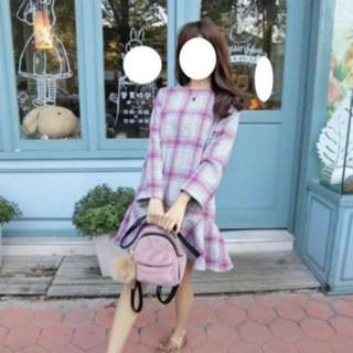 正韓梨子韓貨粉紅格子洋裝