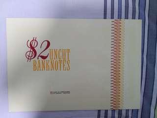 Singapore uncut notes sheet