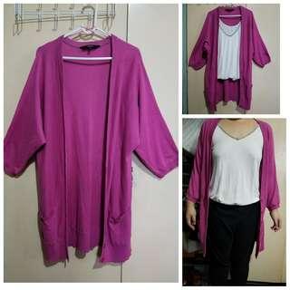 Plus size fuchsia pink cardigan fits L XL