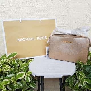 Michael Kors Jet Set Travel Large Metallic Leather Crossbody