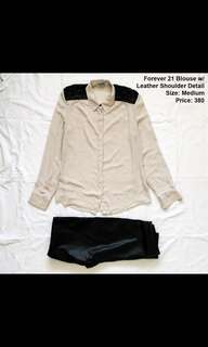 Forever 21 Blouse with Leather Shoulder Detail