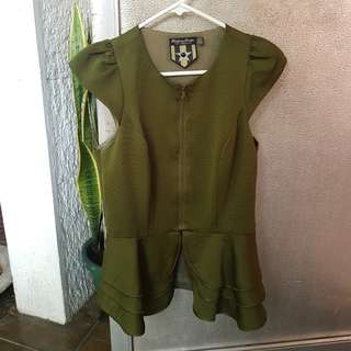 Army Green Peplum Blouse