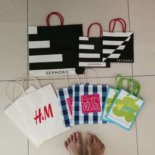 All 9 Branded Paper Bags (small to medium) - Sephora, H&M, Bath & Body Works, Axxezz