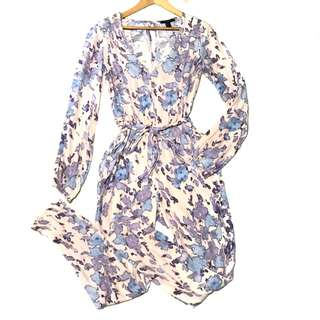 forever 21 belted abstract print jumpsuit blush blue