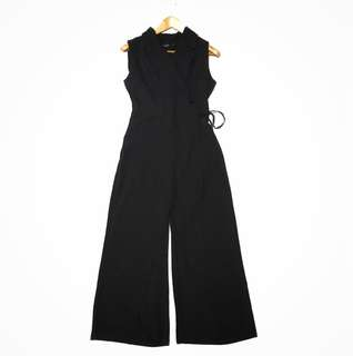 Wide Leg wrap-around Jumpsuit in black