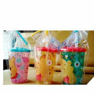 🌟Ready Stocks🌟 Disney Winnie The Pooh Cup With Lid And Straw