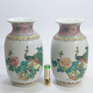 景德鎮 15cm高 粉彩花鳥纹花瓶2只