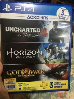 BD uncharted 4 + horizon + god of war ps4