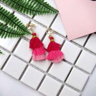 Shades of Pink Tassels Clip On / Stud Earrings