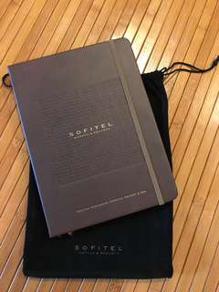 Sofitel faux leather notebook with black velvet pouch