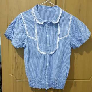 Dainty pinstripe blouse with lace trim