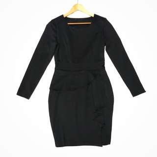 Apartment 8 Black Long Sleeve overlap peplum bodycon dress