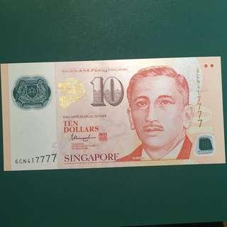 SG $10 note 417777 LUCKY