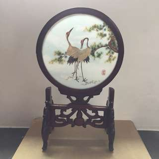 Antique Chinese 2 Crane Display