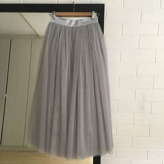 Grey long tulle skirt