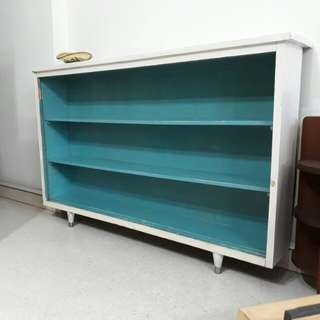 vintage tiffany blue display pencil leg cabinet