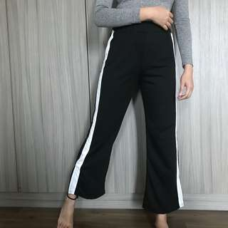 NEW wide leg pants with white line