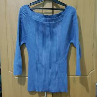 Plus size blue ribbed sweater with 3/4 sleeves