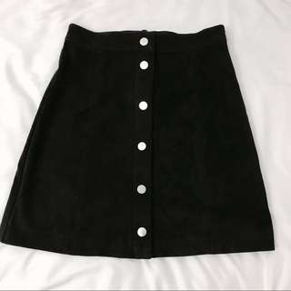 🚚 H&M Black Button Up Skirt 黑色裙子 A Line