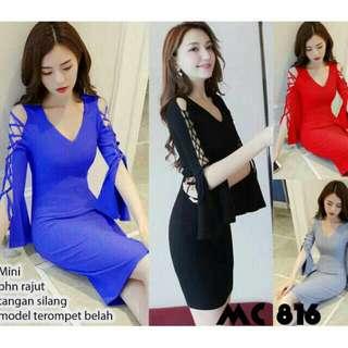 Mini Dress Sexy Knitted Cross Long Sleeve Rajut Silang Lengan Panjang Import