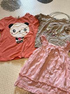 80cm 1~2.5yrs h&m tops 4 pieces