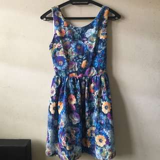 Floral printed dress (blue)