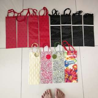 All 12 Branded Wine Bottle Paper Bags - Famous Amos, Ikea gold/red/green, Memory Lane red hearts/black snowflake