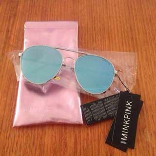 MINKPINK Peak Hour Sunglasses Silver/Blue