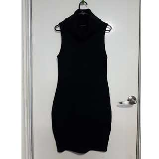 Black Turtle Neck Knitted Sleeveless Dress