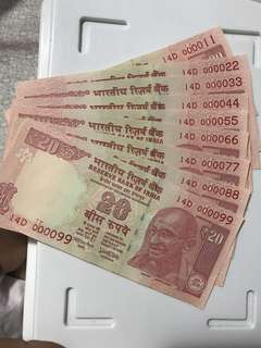 Nice fancy and lower no 11 to 99. Indian. Old. 20 Rupees Note