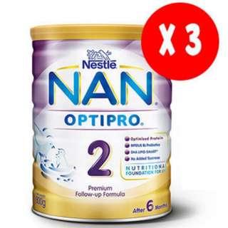 3x Nestle Nan Optipro 2, 800g