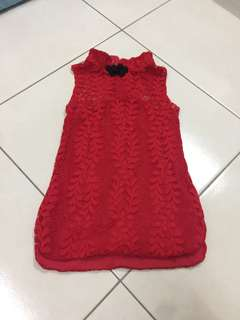 Baby lace red cheongsam