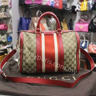 Gucci Beige GG Canvas Red Web Medium Boston Bag