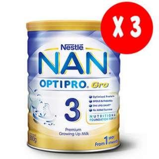 3x Nan OPTIPRO GRO 3 800g
