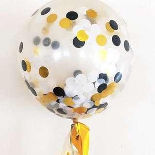 "Confetti Balloon (12"") - Black, Gold, White"