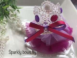 Handmade Ribbon Lace Crown Hair clip/ headband/ hair band
