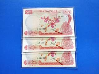 Singapore banknotes orchid series $10 3run GKS