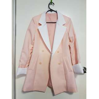 Pink & White Long Blazer