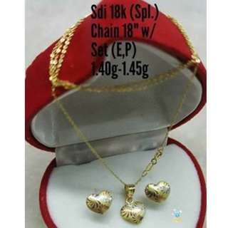 18K SPL SAUDI GOLD SET ( NECKLACE, PENDANT & EARRINGS ) ,.