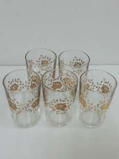 Gold Rose Glass 5pcs