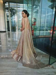 Fully Studded with Cape and Pockets Gold Gown